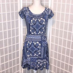 ASOS blue white bandana print dress size 6